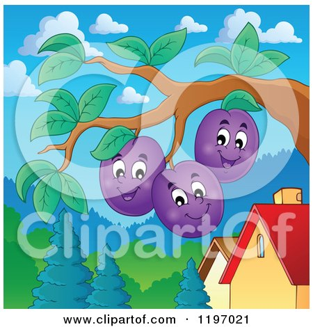 Cartoon of Happy Plums on the Tree - Royalty Free Vector Clipart by visekart