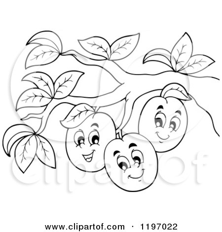 Cartoon of Happy Outlined Plums on a Tree - Royalty Free Vector Clipart by visekart