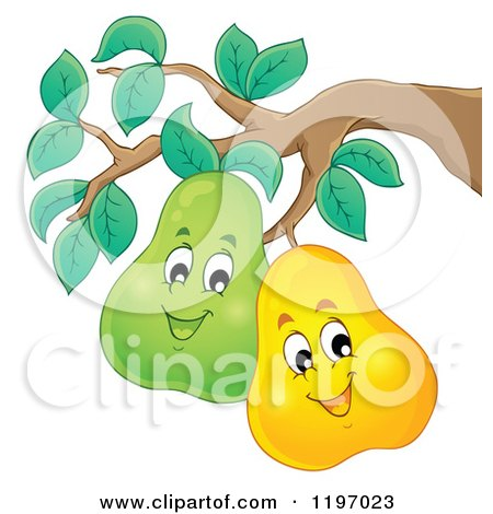 Cartoon of Happy Pears on the Tree - Royalty Free Vector Clipart by visekart