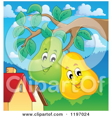 Cartoon of Happy Pears on a Tree - Royalty Free Vector Clipart by visekart