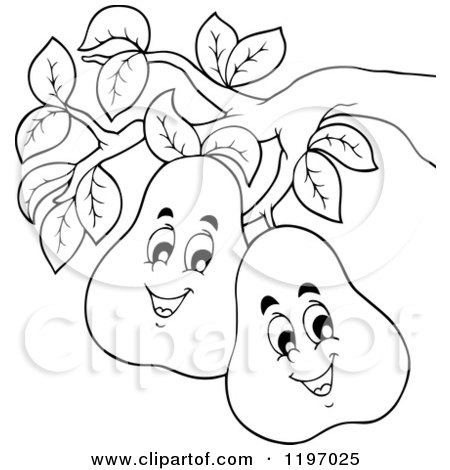 Cartoon of Happy Outlined Pears on the Tree - Royalty Free Vector Clipart by visekart