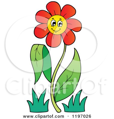 Cartoon of a Happy Red Daisy Flower on a Stem - Royalty Free Vector Clipart by visekart