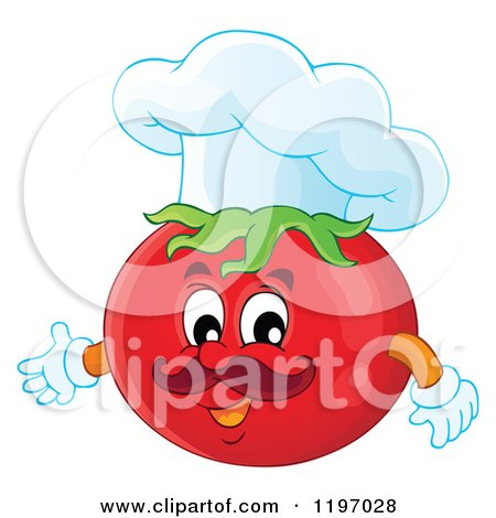 Cartoon of a Chef Tomato Presenting - Royalty Free Vector Clipart by visekart