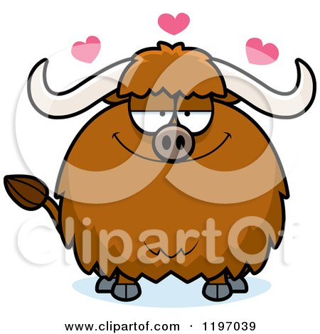 Cartoon of a Loving Chubby Ox - Royalty Free Vector Clipart by Cory Thoman