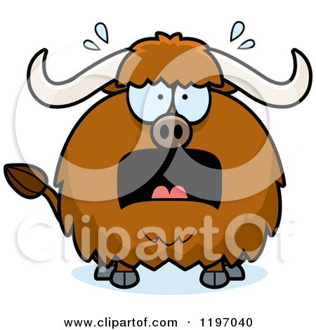 Cartoon of a Scared Chubby Ox - Royalty Free Vector Clipart by Cory Thoman