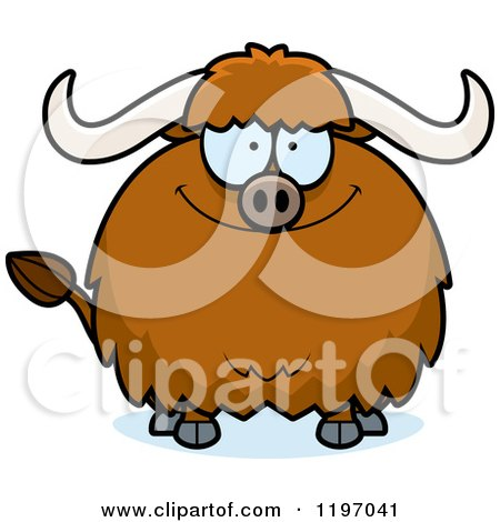 Cartoon of a Happy Chubby Ox - Royalty Free Vector Clipart by Cory Thoman