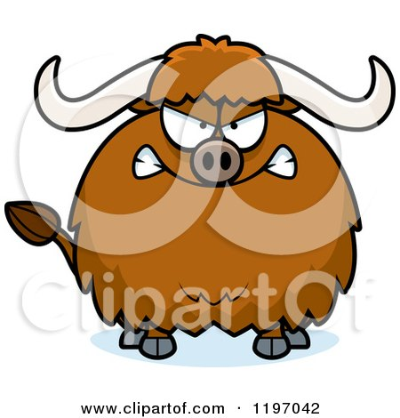 Cartoon of a Mad Chubby Ox - Royalty Free Vector Clipart by Cory Thoman