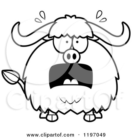 Cartoon of a Black And White Mad Chubby Ox - Royalty Free Vector