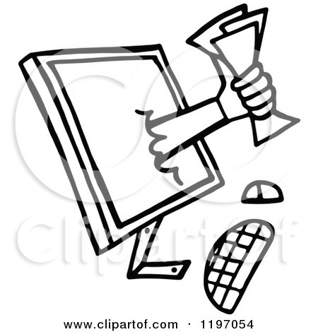 Clipart of a Black and White Hand Holding Money Through a Computer Monitor - Royalty Free Vector Illustration by Prawny