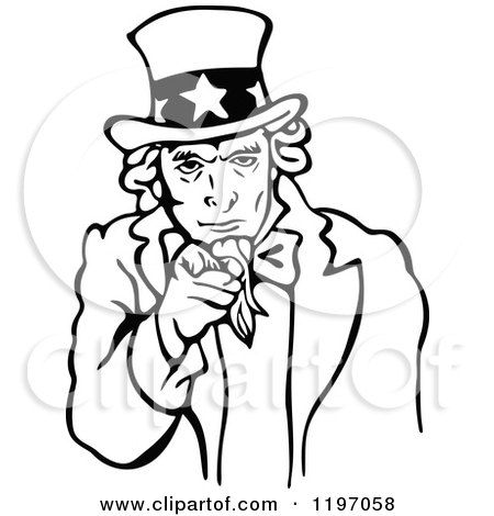 clipart of a black and white uncle sam pointing outwards royalty rh clipartof com 4th of July Clip Art Black and White May Clip Art Black and White