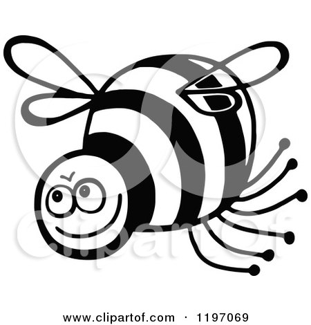 Clipart of a Black and White Happy Bee - Royalty Free Vector Illustration by Prawny