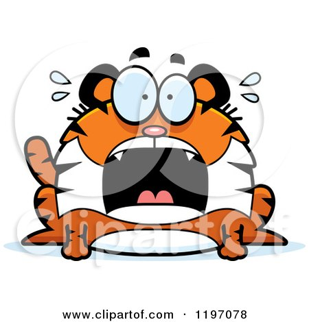 Cartoon of a Scared Chubby Tiger - Royalty Free Vector Clipart by Cory Thoman
