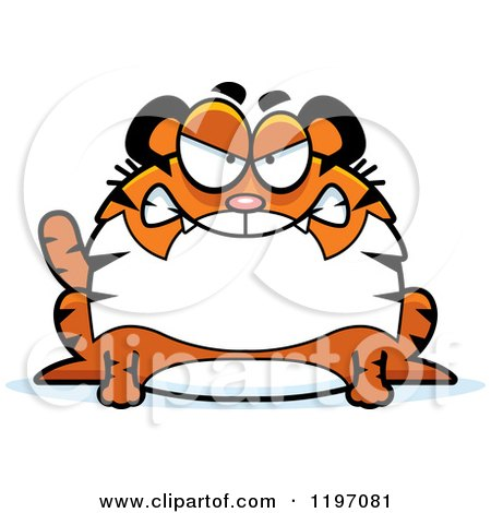 Cartoon of a Mad Chubby Tiger - Royalty Free Vector Clipart by Cory Thoman