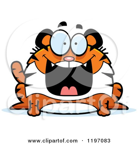 Cartoon of a Grinning Chubby Tiger - Royalty Free Vector Clipart by Cory Thoman