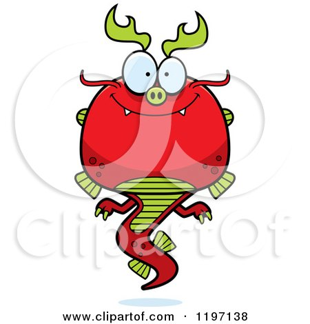 Cartoon of a Happy Chinese Dragon - Royalty Free Vector Clipart by Cory Thoman