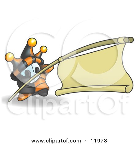 Joker Jester Character Holding a Blank Banner on a Pole Posters, Art Prints
