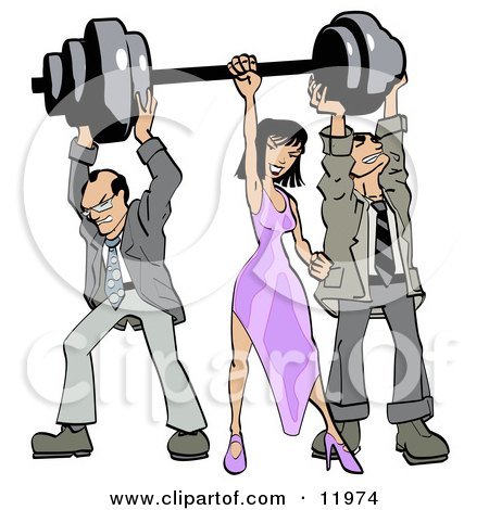 Two Struggling Businessmen Holding up Weights on a Barbell While a Woman Grasps the Bar Posters, Art Prints