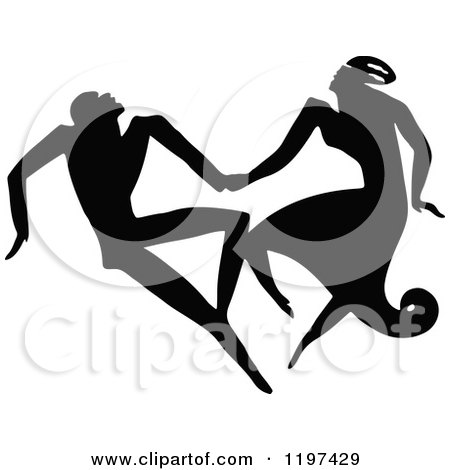 Clipart of a Vintage Black and White Silhouetted Couple Dancing - Royalty Free Vector Illustration by Prawny Vintage