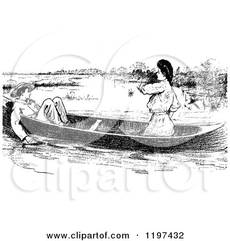Clipart of a Vintage Black and White Couple in a Boat - Royalty Free Vector Illustration by Prawny Vintage