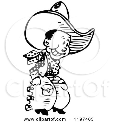 Clipart of a Vintage Black and White Grinning Cowboy - Royalty Free Vector Illustration by Prawny Vintage