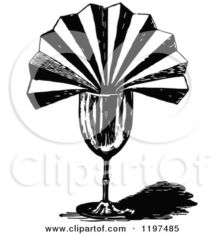 Clipart of a Vintage Black and White Folded Napkin in a Glass - Royalty Free Vector Illustration by Prawny Vintage
