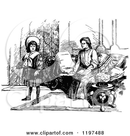 Clipart of a Vintage Black and White Mother and Daughter in a Living Room - Royalty Free Vector Illustration by Prawny Vintage