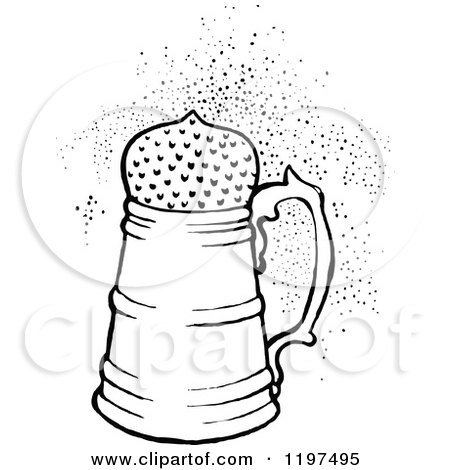 Clipart of a Vintage Black and White Fizzy Drink - Royalty ...