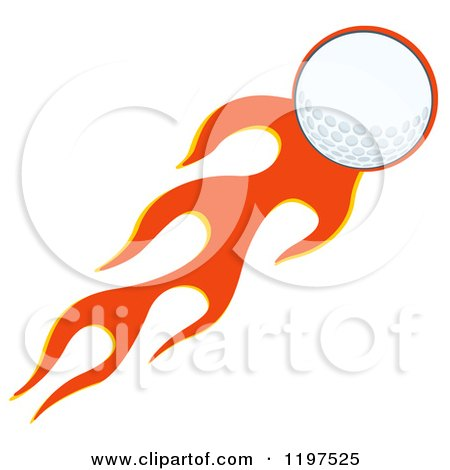 Cartoon of a Flying Golf Ball and Flames - Royalty Free Vector Clipart by Hit Toon