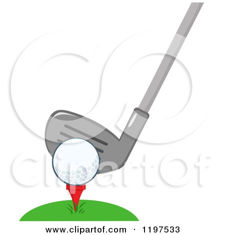 Cartoon of a Club Behind a Golf Ball on a Tee in Grass - Royalty Free Vector Clipart by Hit Toon