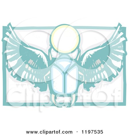 Clipart of an Ancient Egyptian Scarab and Orb Woodcut - Royalty Free Vector Illustration by xunantunich