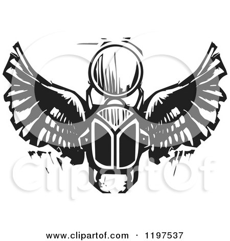 Clipart of an Ancient Egyptian Scarab and Orb Black and White Woodcut - Royalty Free Vector Illustration by xunantunich