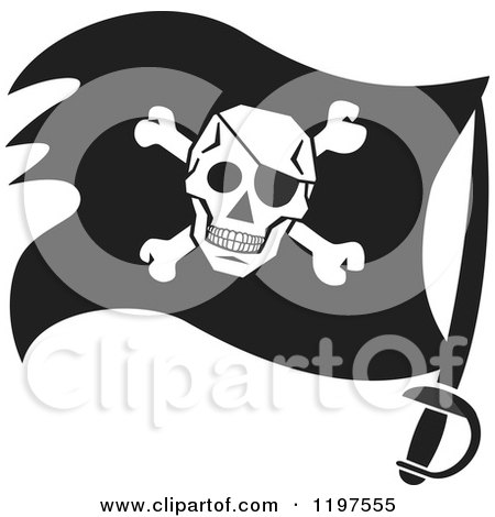 royalty free  rf  clipart illustration of a black skull pirate flag clip art free Pirate Flag Logo