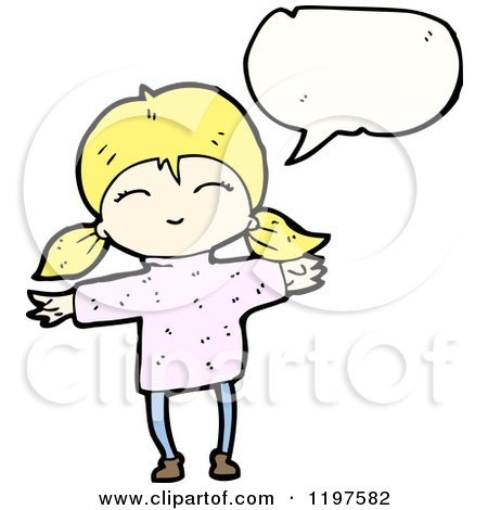 Cartoon of a Little Blonde Girl in Pigtails Speaking - Royalty Free Vector Illustration by lineartestpilot