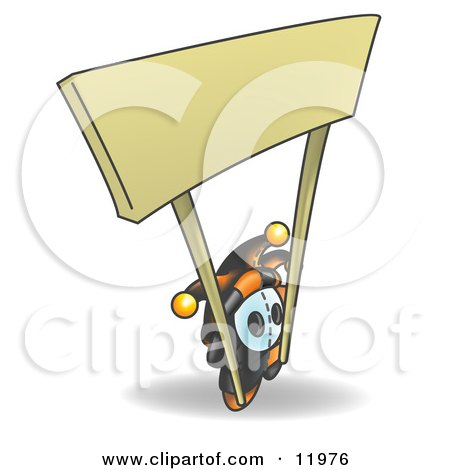 Joker Jester Character Holding the Poles to a Blank Sign Clipart Illustration by Leo Blanchette