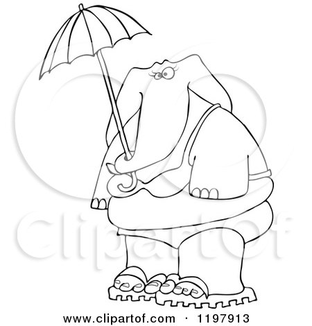 Cartoon of an Outlined Elephant in a Bikini, Holding an Umbrella - Royalty Free Vector Clipart by djart