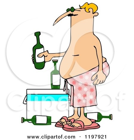 Cartoon of a Man in Pink Swim Trunks, Holding a Beer over a Cooler - Royalty Free Clipart by djart