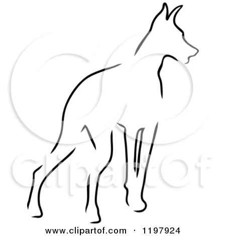 Clipart of a Sketched Outline of a Doberman Pinscher Dog - Royalty Free Vector Illustration by Maria Bell