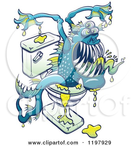 Cartoon of a Bacteria Ridden Toilet Monster Emerging from the Bowl - Royalty Free Vector Clipart by Zooco