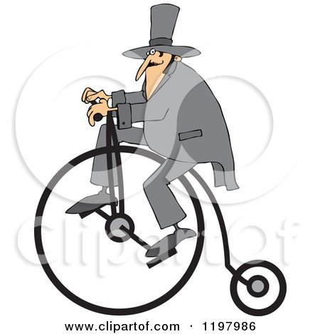 Man Wearing a Top Hat and Riding a Penny Farthing Bicycle Posters, Art Prints