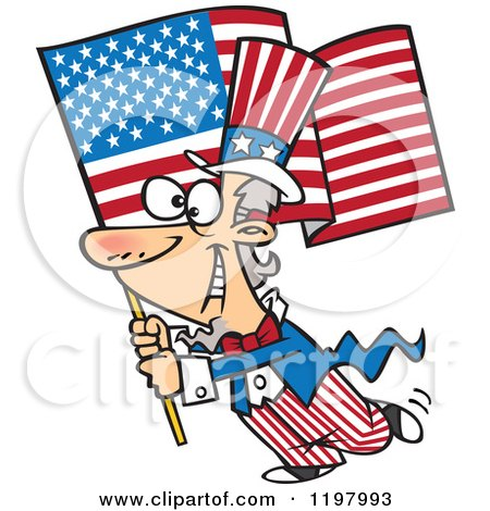 Cartoon Of Uncle Sam Carrying An American Flag Royalty Free Vector Clipart