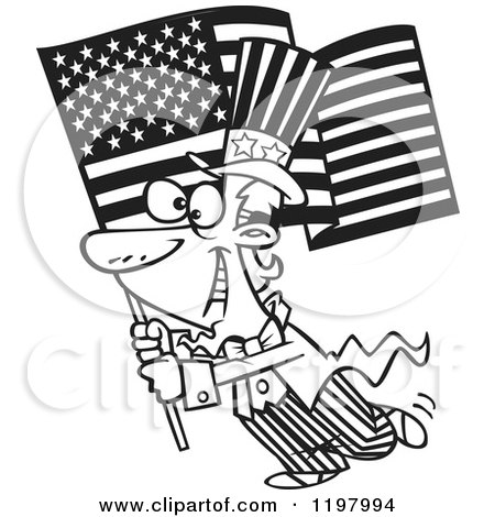 Cartoon of an Outlined Uncle Sam Carrying an American Flag - Royalty Free Vector Clipart by toonaday