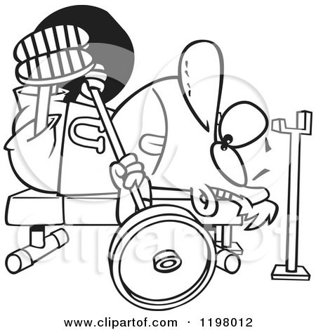Cartoon of an Outlined Man Doing the Chest Press on a Gym Bench - Royalty Free Vector Clipart by toonaday
