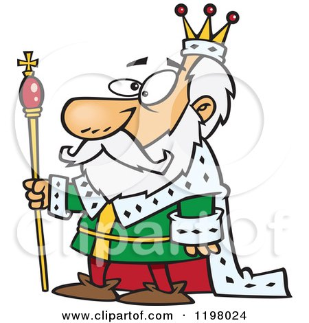 Lineart Clipart of a Cartoon Black and White Angry King ...