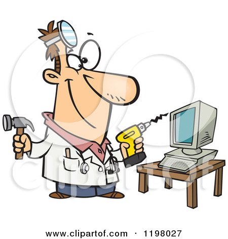 Computer Repair Technician with Tools Posters, Art Prints