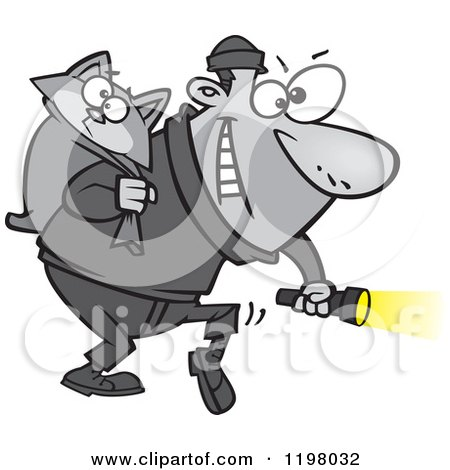 Cartoon of a Cat Burglar Carrying a Kitty and Flashlight - Royalty Free Vector Clipart by toonaday