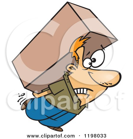 Cartoon of a Strained Caucasian Man Carrying a Heavy Big Box on His Back - Royalty Free Vector Clipart by toonaday