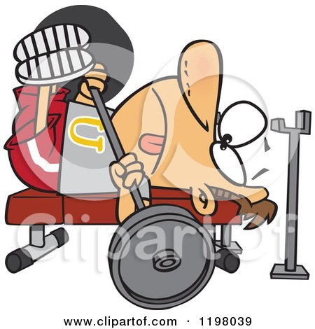 Cartoon of a Man Doing the Chest Press on a Gym Bench - Royalty Free Vector Clipart by toonaday