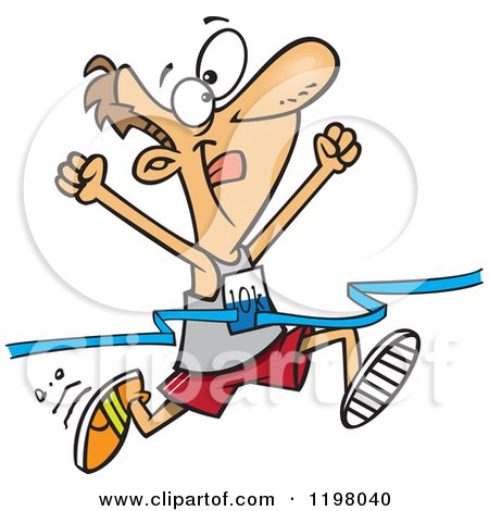 Cartoon of a Male 10k Runner Crossing the Finish Line - Royalty Free Vector Clipart by toonaday