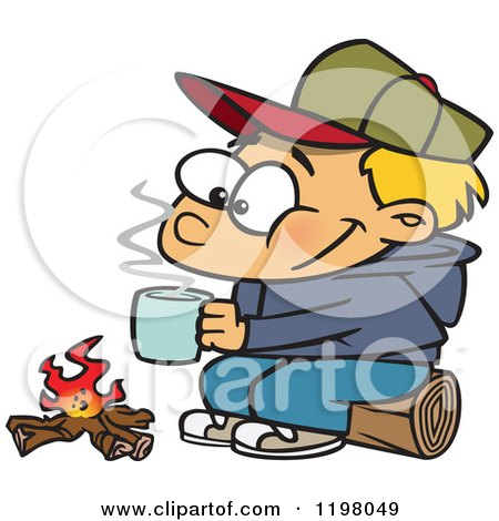 Cartoon of a Happy Blond Boy with Hot Cocoa by a Camp Fire - Royalty Free Vector Clipart by toonaday