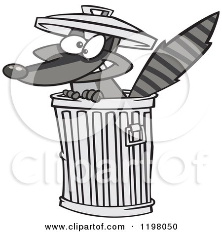 Cartoon of a Grinning Rascal Raccoon in a Trash Can - Royalty Free Vector Clipart by toonaday